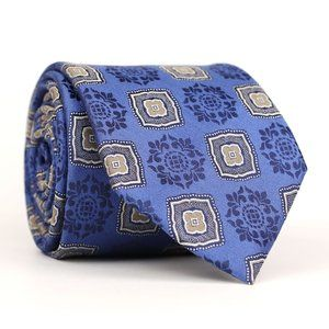 John W Nordstrom Silk Neck Tie Blue/Tan Geometric